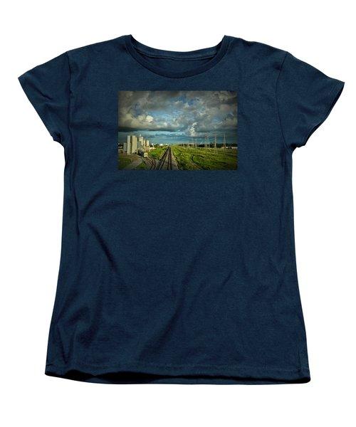 The Train Yard Women's T-Shirt (Standard Cut) by Linda Unger