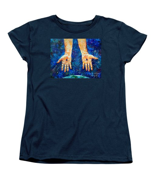 The Whole World In His Hands Women's T-Shirt (Standard Cut) by Lou Ann Bagnall