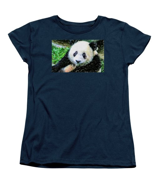 Women's T-Shirt (Standard Cut) featuring the painting Thinking Of David Panda by Lanjee Chee