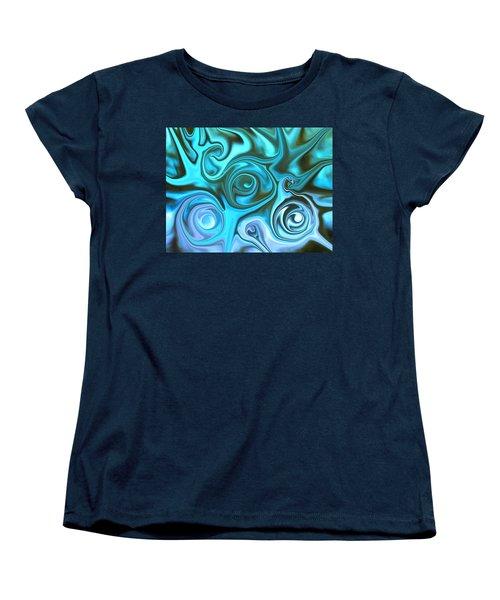 Turquoise Swirls Women's T-Shirt (Standard Cut) by Susan Carella