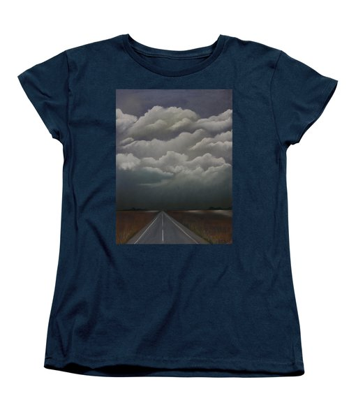 Women's T-Shirt (Standard Cut) featuring the pastel This Menacing Sky by Cynthia Lassiter