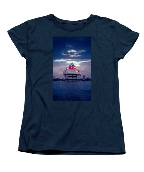 Thomas Point Shoal Lighthouse Women's T-Shirt (Standard Cut) by Skip Willits