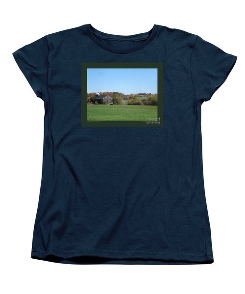 Women's T-Shirt (Standard Cut) featuring the photograph Three Farms In Autumn by Patricia Overmoyer
