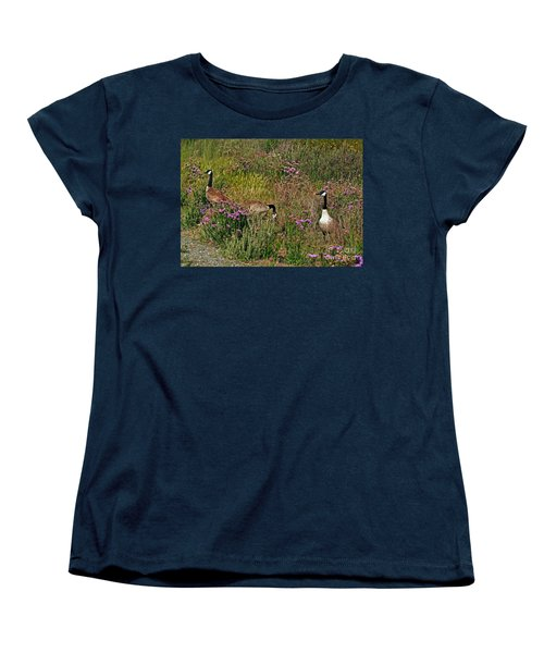 Women's T-Shirt (Standard Cut) featuring the photograph Three Quiet Canada Geese by Susan Wiedmann