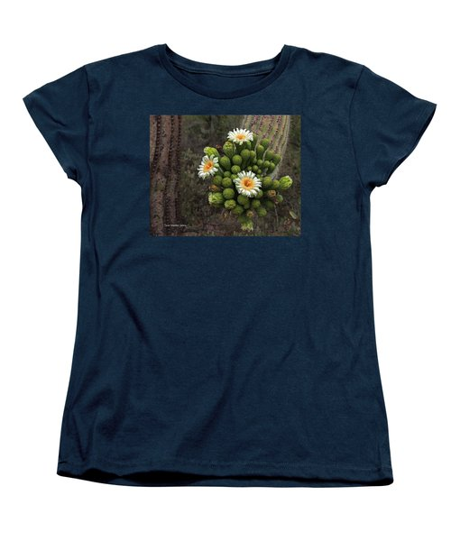 Three Saguaro Blossoms And Many Buds Women's T-Shirt (Standard Cut) by Tom Janca
