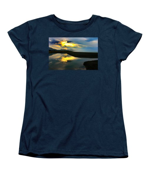 Women's T-Shirt (Standard Cut) featuring the photograph Tidal Pond Sunset New Zealand by Amanda Stadther