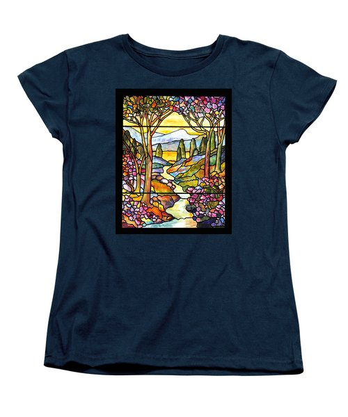 Tiffany Landscape Window Women's T-Shirt (Standard Cut) by Donna Walsh