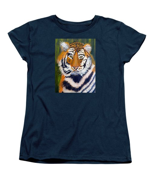 Women's T-Shirt (Standard Cut) featuring the painting Tiger by Pamela  Meredith