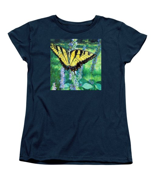 Tiger Swallowtail- Enjoying The Sweetness Women's T-Shirt (Standard Cut) by Bonnie Mason