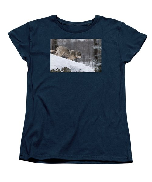 Timber Wolf On Hill Women's T-Shirt (Standard Cut) by Wolves Only