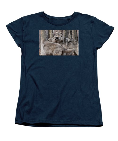 Women's T-Shirt (Standard Cut) featuring the photograph Timber Wolves Playing by Wolves Only