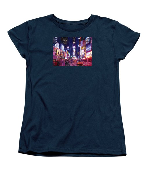 Women's T-Shirt (Standard Cut) featuring the painting Amy's Time Square In The Rain by Tim Gilliland