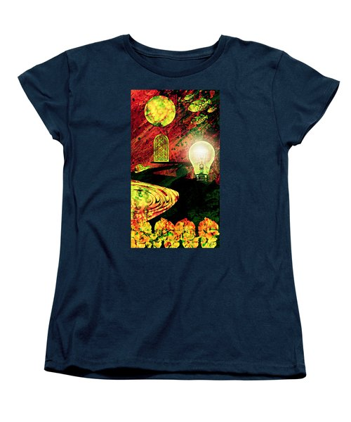 Women's T-Shirt (Standard Cut) featuring the mixed media To The Light by Ally  White