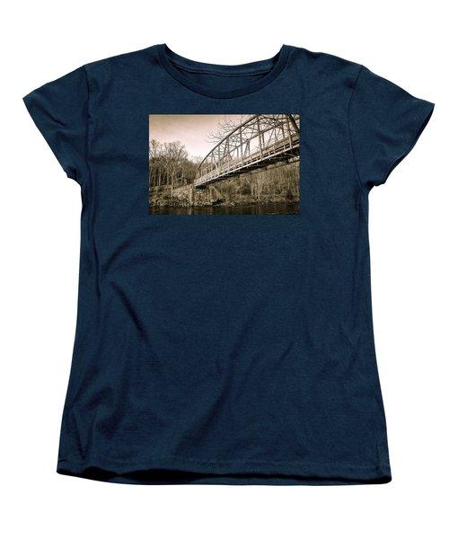 Town Bridge Collinsville Connecticut Women's T-Shirt (Standard Cut) by Brian Caldwell
