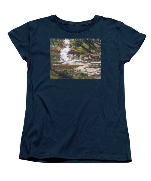 Women's T-Shirt (Standard Cut) featuring the painting Trail To The Artists Paint Pots - Yellowstone by Lori Brackett