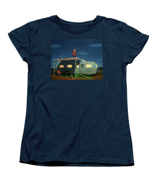 Trailer House Christmas Women's T-Shirt (Standard Cut) by James W Johnson