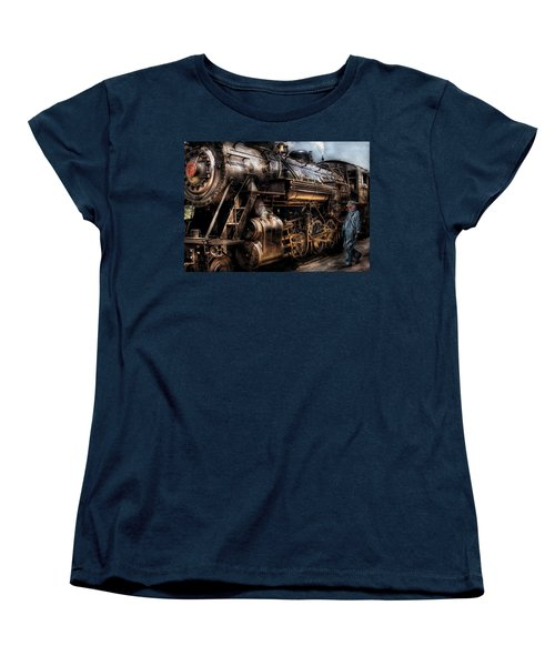 Train - Engine -  Now Boarding Women's T-Shirt (Standard Cut) by Mike Savad