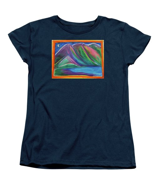 Women's T-Shirt (Standard Cut) featuring the painting Travelers Mountains By Jrr by First Star Art