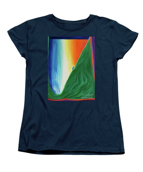 Women's T-Shirt (Standard Cut) featuring the painting Travelers Rainbow Waterfall By Jrr by First Star Art