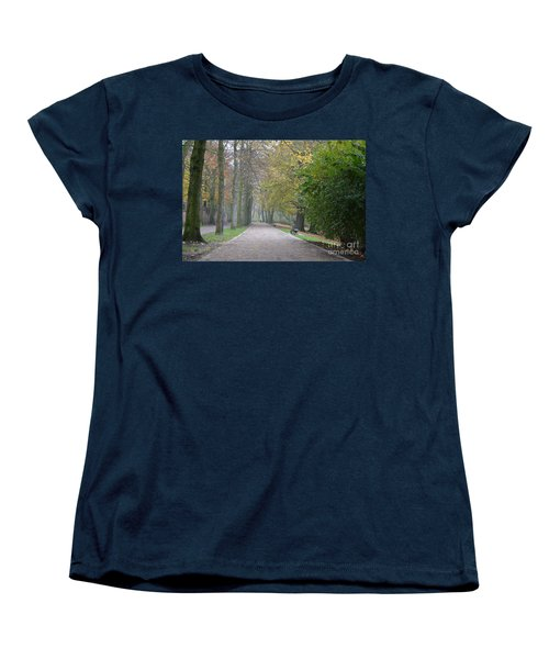 Women's T-Shirt (Standard Cut) featuring the photograph Tree Lined Path In Fall Season Bruges Belgium by Imran Ahmed