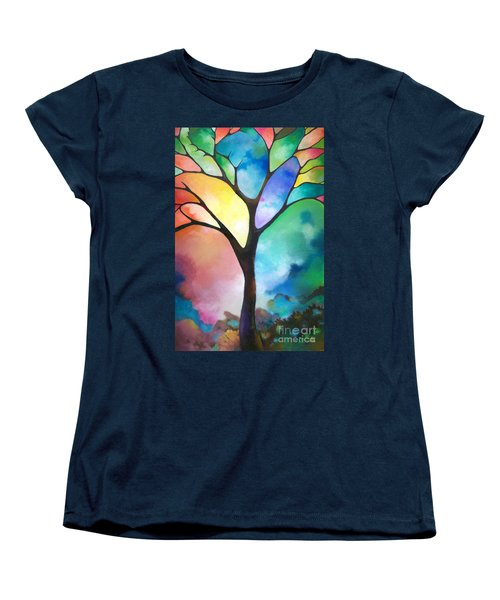 Original Art Abstract Art Acrylic Painting Tree Of Light By Sally Trace Fine Art Women's T-Shirt (Standard Cut) by Sally Trace