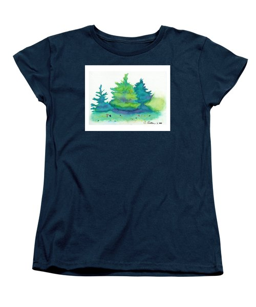 Women's T-Shirt (Standard Cut) featuring the painting Trees 2 by C Sitton