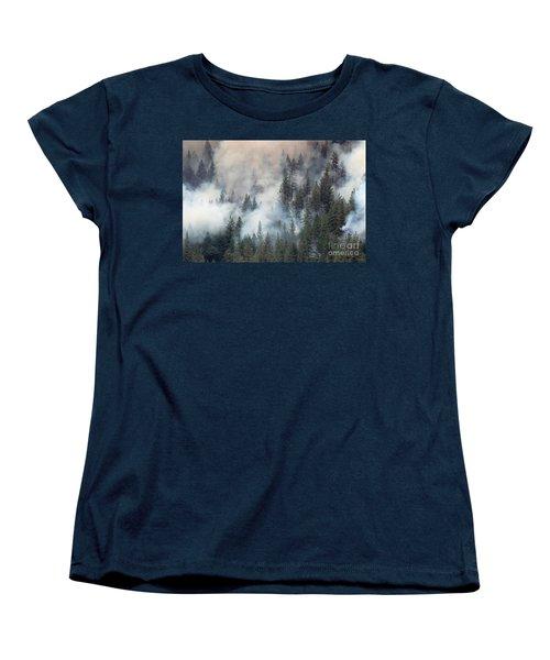 Beaver Fire Trees Swimming In Smoke Women's T-Shirt (Standard Cut) by Bill Gabbert