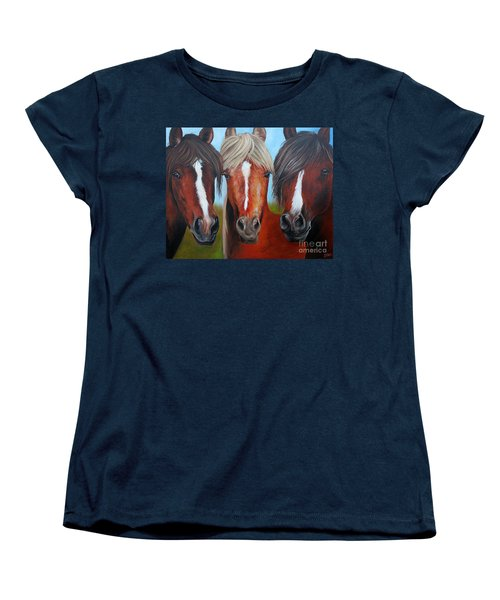 Women's T-Shirt (Standard Cut) featuring the painting Trio by Debbie Hart
