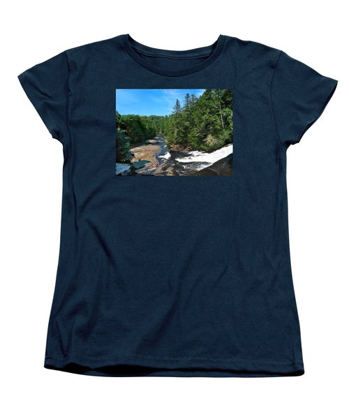 Triple Falls North Carolina Women's T-Shirt (Standard Cut) by Steve Karol