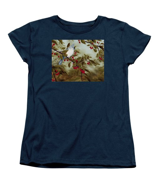 Tufted Titmouse Women's T-Shirt (Standard Cut) by Rick Bainbridge