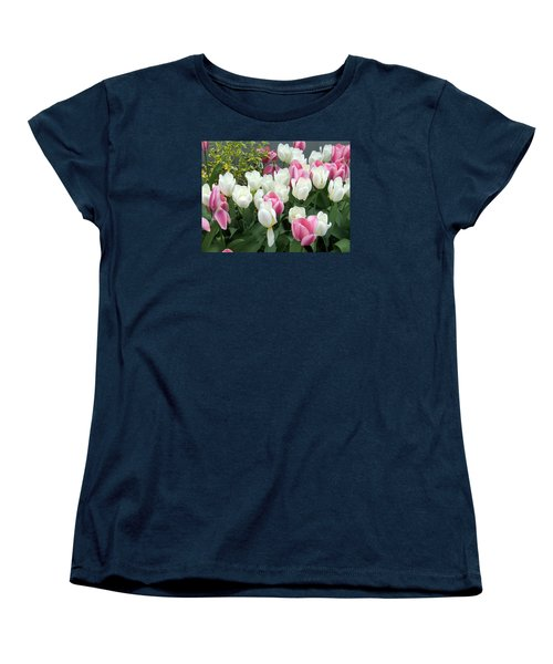 Purple And White Tulips Women's T-Shirt (Standard Cut) by Catherine Gagne