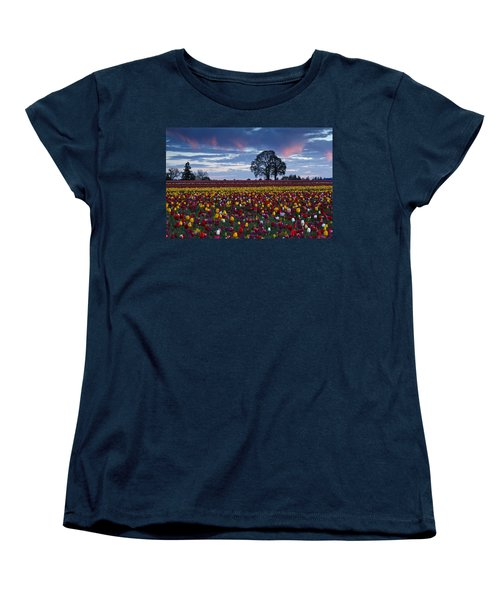 Tulip Field's Last Colors Women's T-Shirt (Standard Cut) by Wes and Dotty Weber
