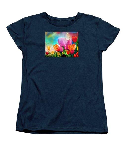 Tulipa Festivity Women's T-Shirt (Standard Cut) by Angel Ortiz