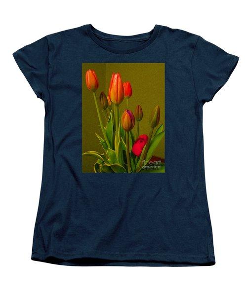 Tulips Against Green Women's T-Shirt (Standard Cut) by Nina Silver