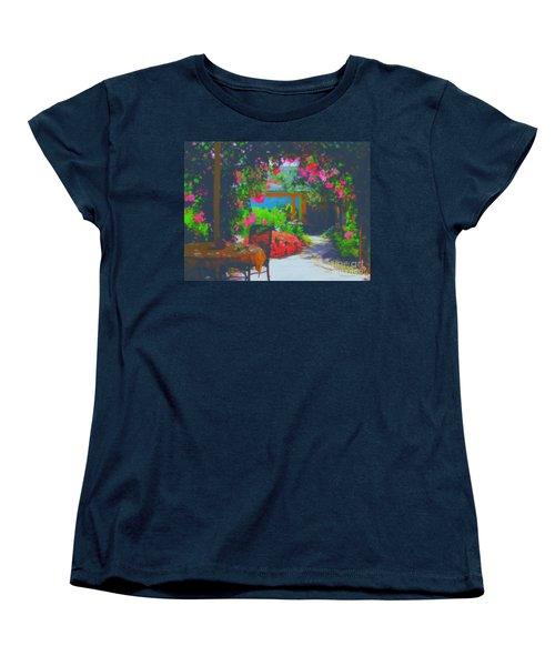 Women's T-Shirt (Standard Cut) featuring the painting Tuscan Courtyard by Tim Gilliland