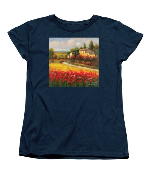 Women's T-Shirt (Standard Cut) featuring the painting Tuscan Villa  by Tim Gilliland