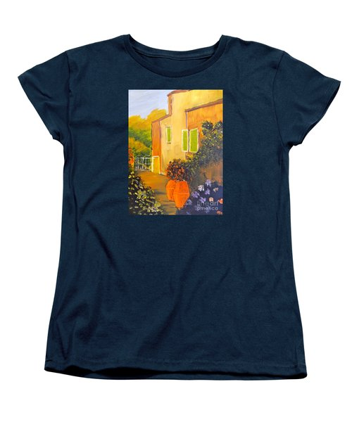 Women's T-Shirt (Standard Cut) featuring the painting Tuscany Courtyard by Pamela  Meredith