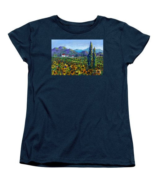 Women's T-Shirt (Standard Cut) featuring the painting Tuscany Sunflowers Miniature by Lou Ann Bagnall