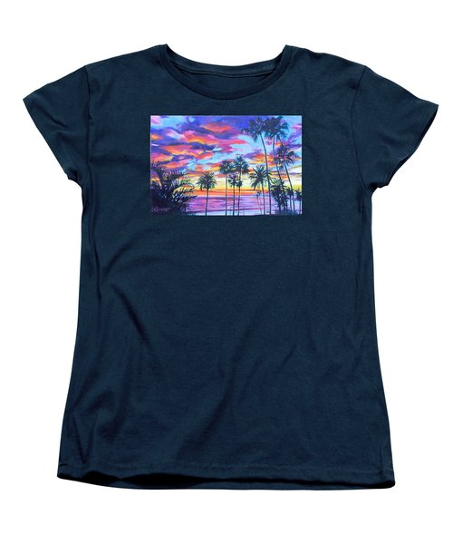 Twilight Palms Women's T-Shirt (Standard Cut) by Bonnie Lambert