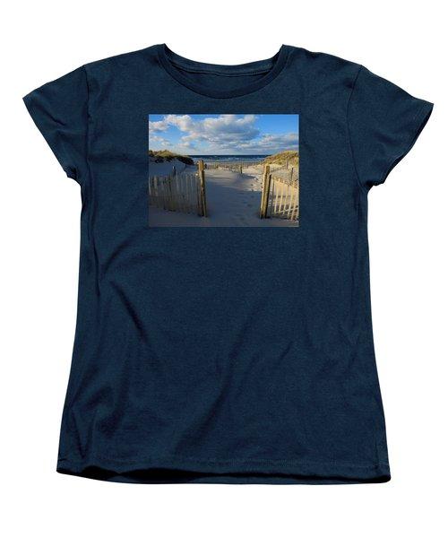 Women's T-Shirt (Standard Cut) featuring the photograph Golden Hour Beach by Dianne Cowen
