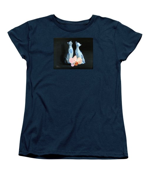 Women's T-Shirt (Standard Cut) featuring the painting Two Birthday Party Cats by LaVonne Hand
