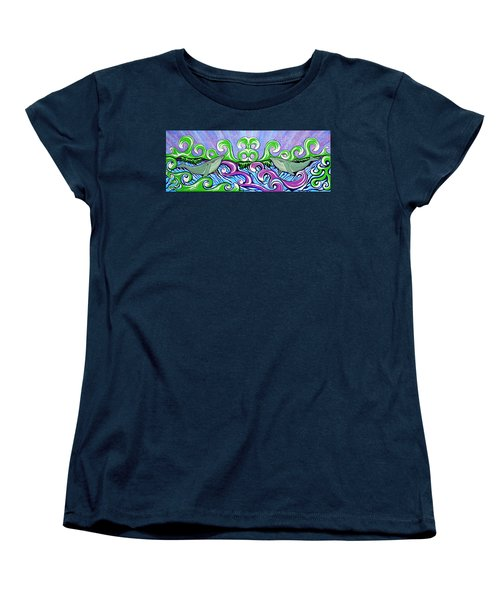Women's T-Shirt (Standard Cut) featuring the painting Two Gray Whales by Debbie Chamberlin