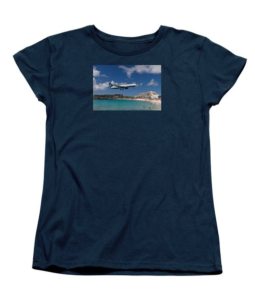 U S Airways Low Approach To St. Maarten Women's T-Shirt (Standard Cut) by David Gleeson