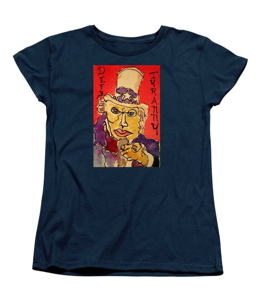 Women's T-Shirt (Standard Cut) featuring the painting Uncle Sam Defy Tyranny by Rand Swift