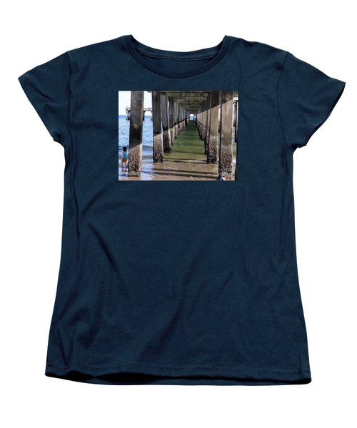 Women's T-Shirt (Standard Cut) featuring the photograph Under The Boardwalk by Ed Weidman
