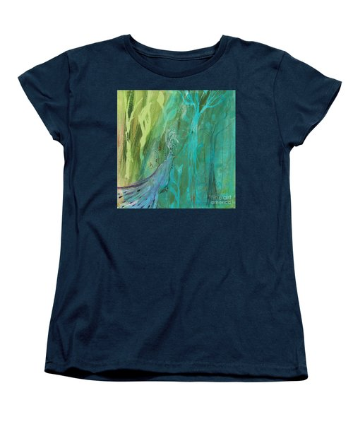 Women's T-Shirt (Standard Cut) featuring the painting Undercover Peacock by Robin Maria Pedrero