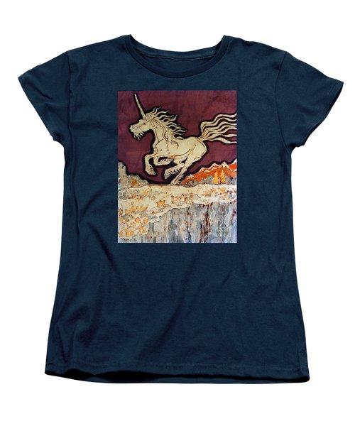 Unicorn Above Chasm Women's T-Shirt (Standard Cut)