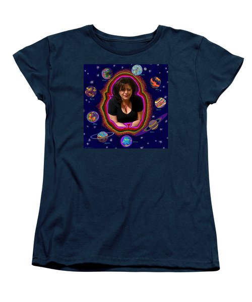 United Planets Of Mona Robin Women's T-Shirt (Standard Cut) by Robert SORENSEN