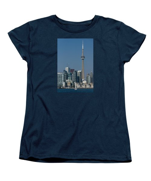 Up Close And Personal - Cn Tower Toronto Harbor And Skyline From A Boat Women's T-Shirt (Standard Cut) by Georgia Mizuleva