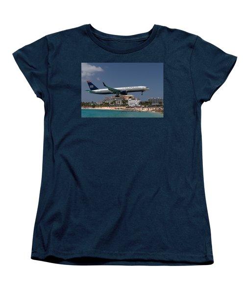 U S Airways At St Maarten Women's T-Shirt (Standard Cut) by David Gleeson